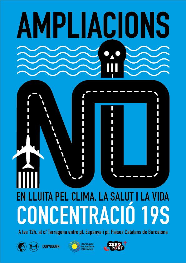 Cartell de la concentració 19S contra ampliació aeroport Barcelona